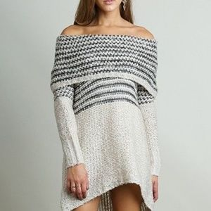 UMGEE off shoulder striped sweater knit tunic